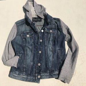 Express Jeans Button Down Hooded Jean Jacket